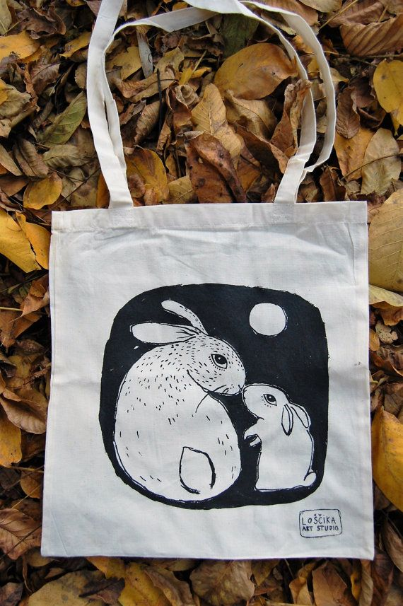 bunny shopping bag/bunny lover gift/gift for a bunny by Loshcika