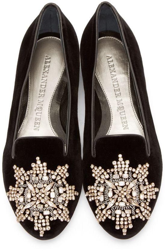 c13eda35f8972 Alexander Mcqueen: Black Embellished Velvet Loafers | SSENSE ...