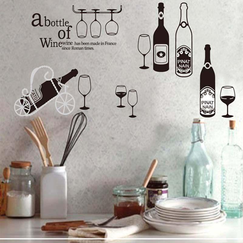 Creative Red Wine Glass Drinks Wall Sticker Bar Restaurant Coffee - Vinyl stickers for glass bottles