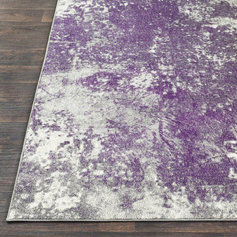 Alexy Abstract Medium Gray Dark Purple Area Rug In 2021 Purple Area Rugs Area Rugs Rugs