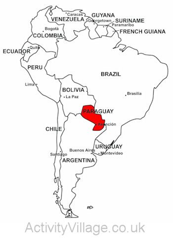 Paraguay on map of South America