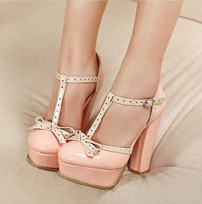 Chunky Heel Heels Pumps Heels with Bowknot Shoes For Women