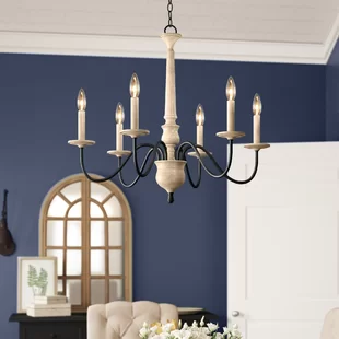 Tacoma 6 Light Candle Style Classic Traditional Chandelier with Wood Accents