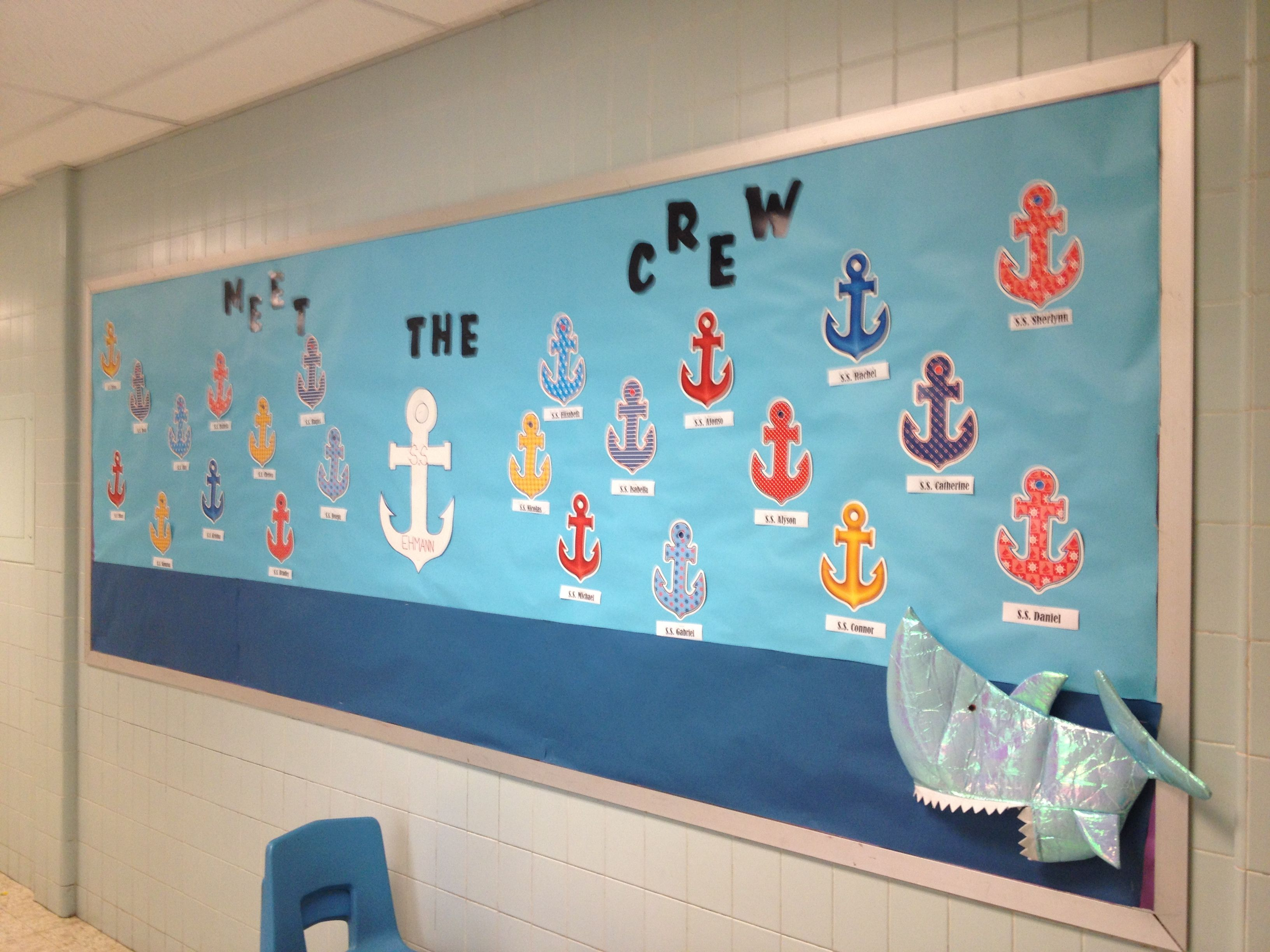Anchor Classroom Decor ~ Nautical theme classroom bulletin board for september