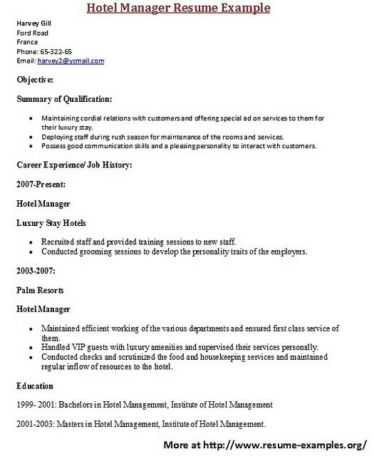 For more and various manager resume examples visit: www ...