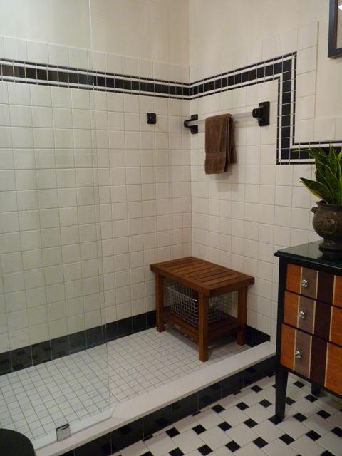Black & white bathroom tile design. Could we just go white walls in ...