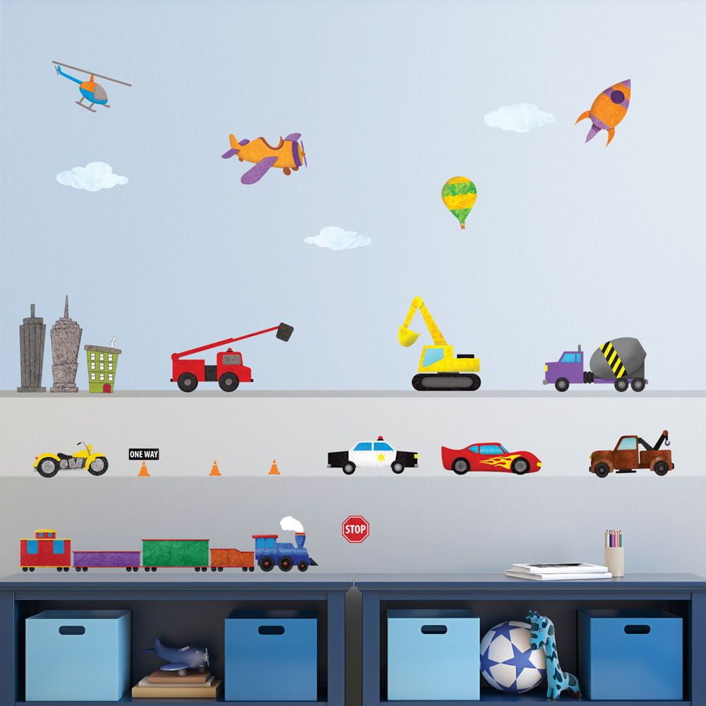 train car airplane construction truck and construction wall make a colorful transportation themed mural in minutes for your nursery boys room classroom