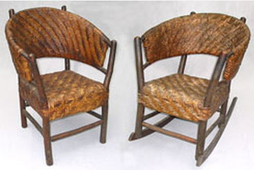 Old Hickory hooped back chair and rocker