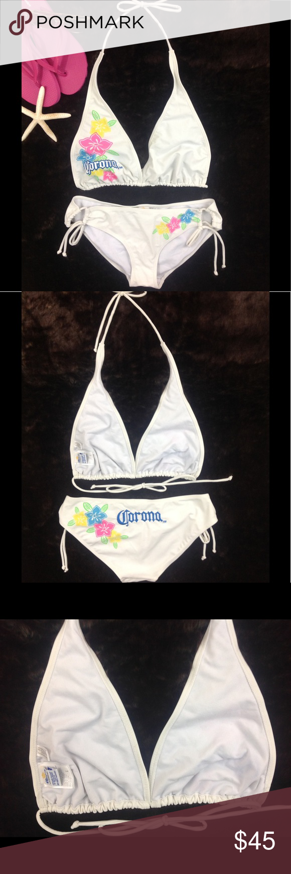Corona Embroidered Logo White String Bikini 👙 Pre-loved. Cleaned and ready to wear. No flaws noted. Smoke free environment. Corona Swim Bikinis