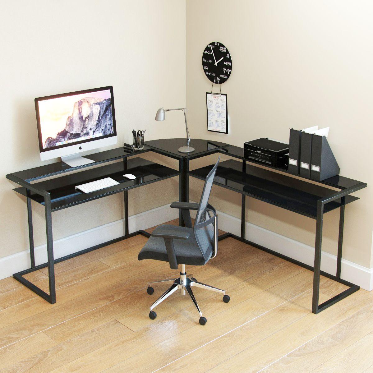 Belmac 3 Piece Corner C Frame L Shaped Computer Desk In Black Glass And Black Frame Computer Desk Design Modern L Shaped Desk Desk Design