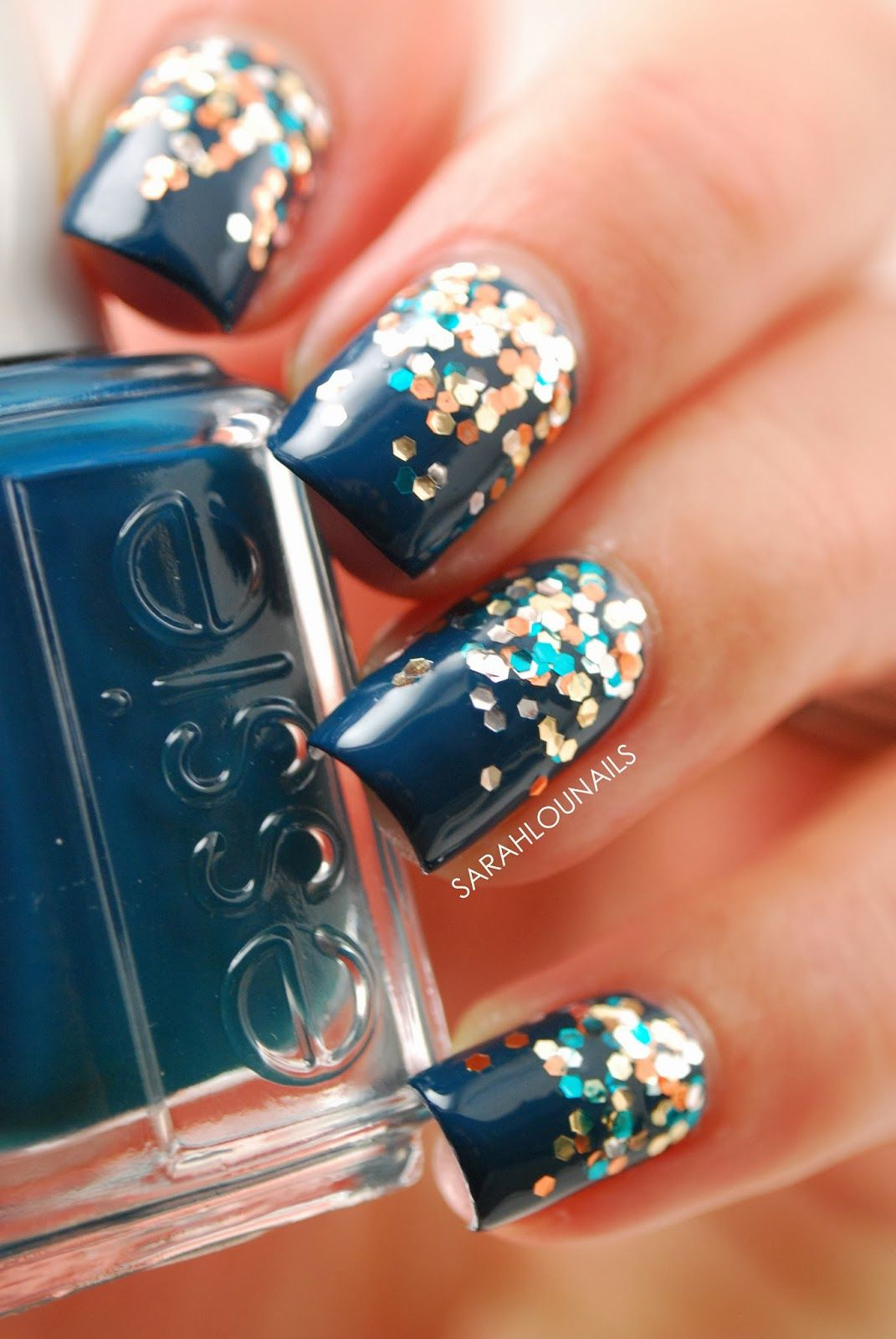 navy with glitter using OPI the living daylights & Essie go ...