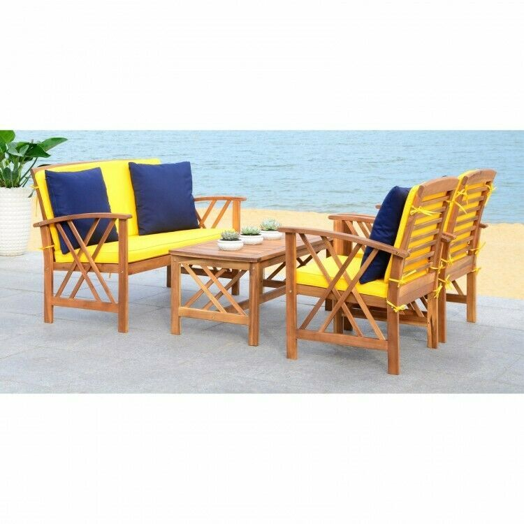 4 Piece Conversation Set W Cushions Modern Brown Yellow Patio