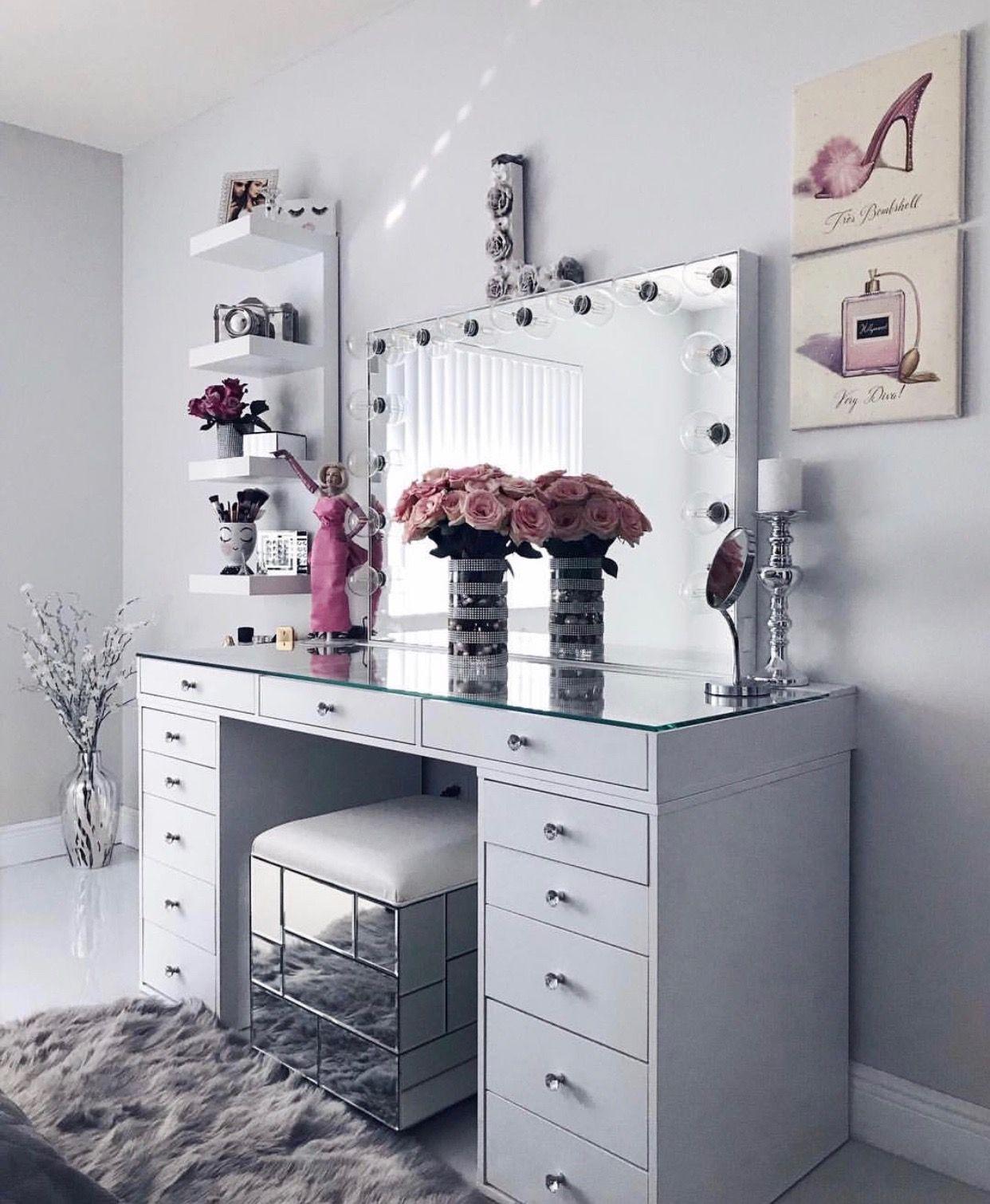 white clean sleek vanity decor paintings flowers glass rh pinterest com