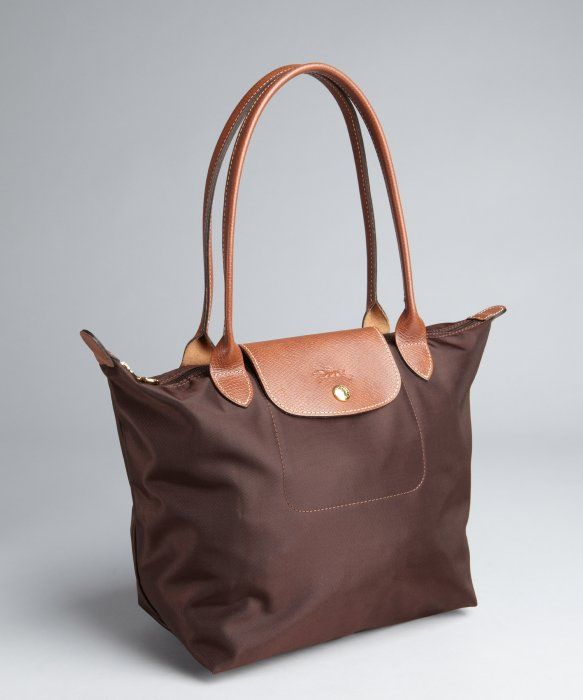c822ebad9af4 Longchamp : brown nylon 'Le Pliage' small shopper tote : style # 321797301