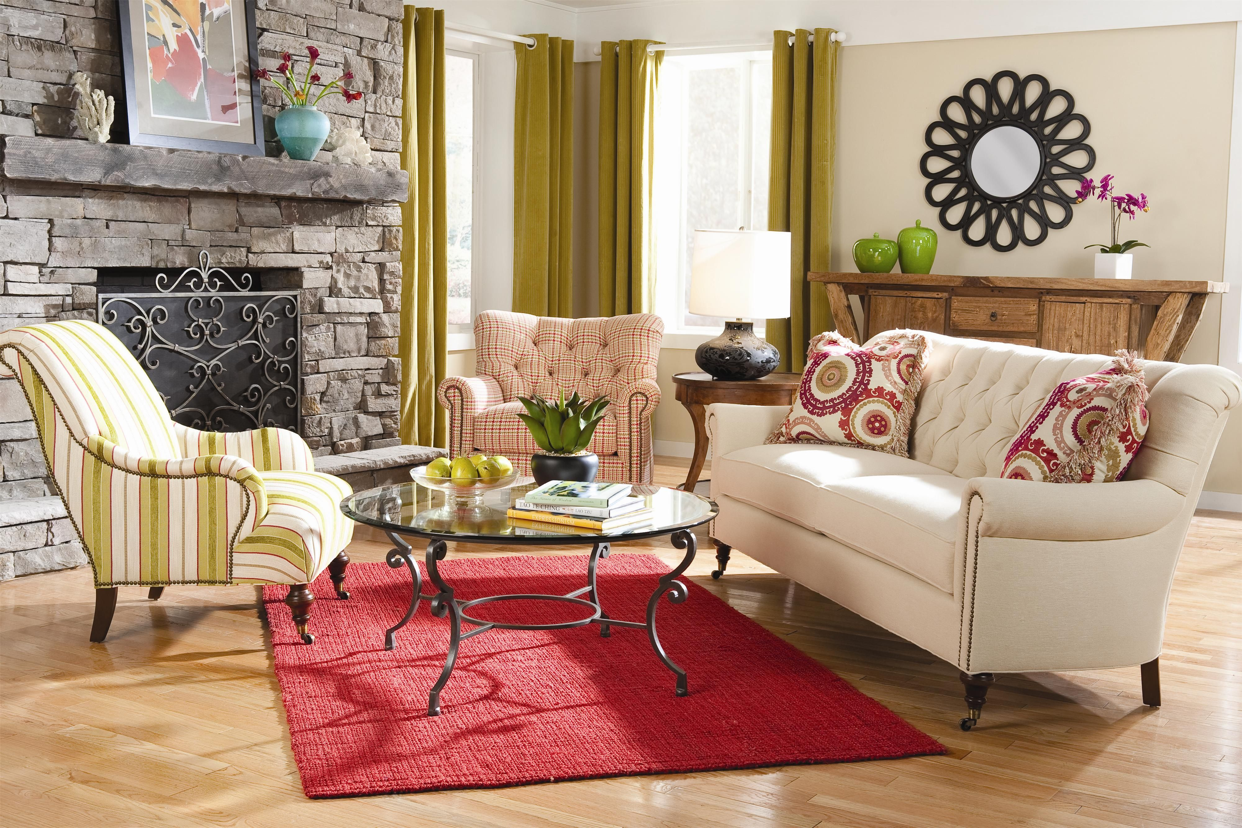 7381 Classic Sofa with Button Tufted Back and Nail Head Trim by
