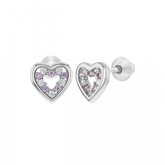 74836c949 Baby and Children's Earrings: Sterling Silver Pink/White CZ Open Hearts  with Screw Backs. From a huge range of baby and children's screw back  earrings at ...