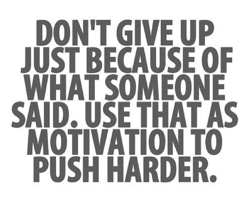 don t give up just because of what someone said use that as