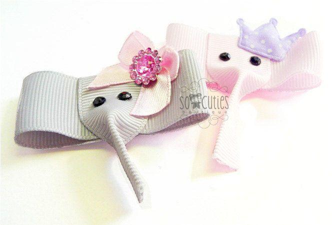 Pink or Gray elephant ribbon sculpture hair clip  U by soCuties, $4.15