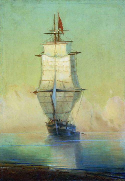 "wasbella102: "" Art painting wonderful by Ivan Aivazovsky 1817 - 1900 Ship ..Корабль art-and-dream: """