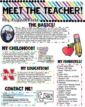 Meet The Teacher Newsletter Template Editable Bright Stripes Back