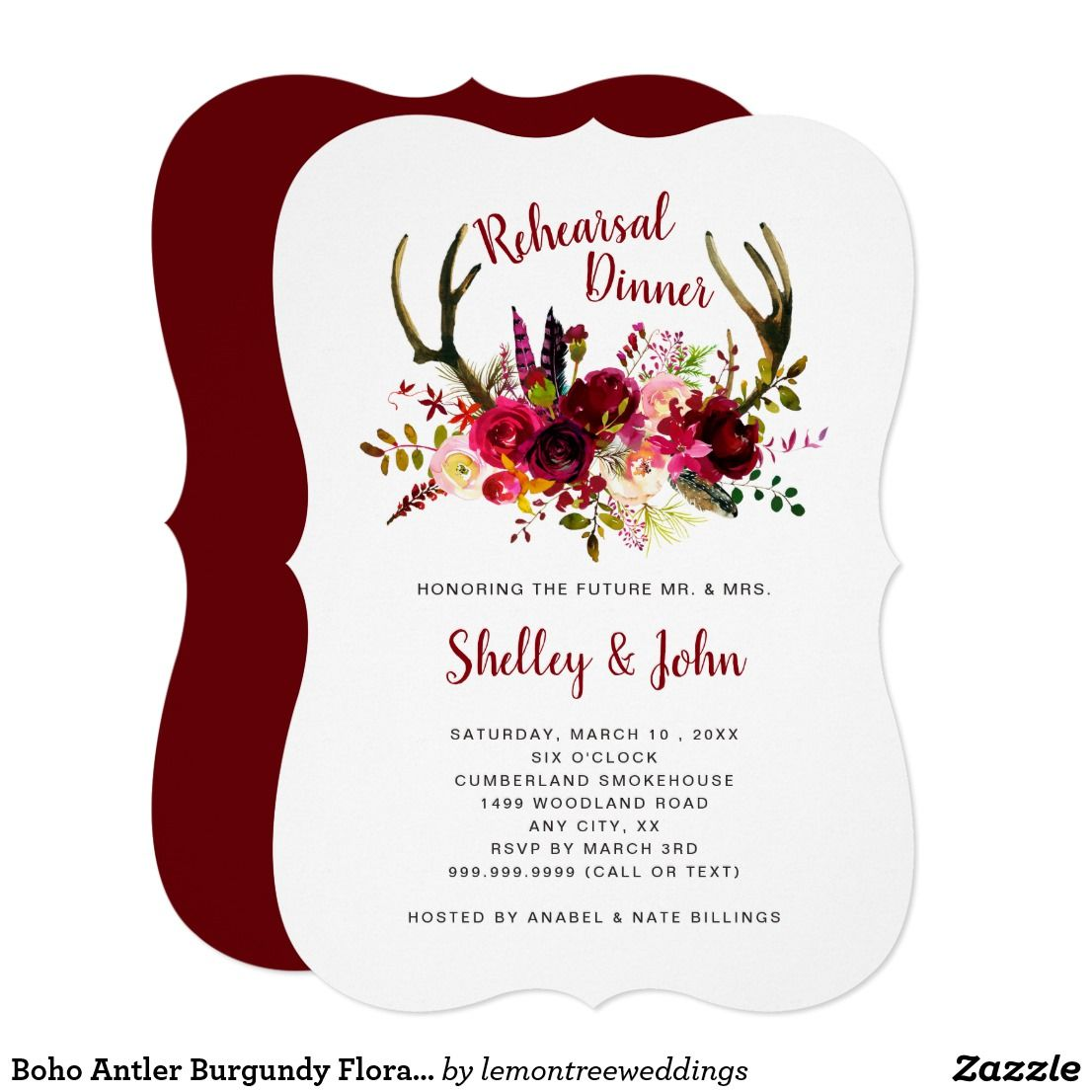 Boho Antler Burgundy Floral Rehearsal Dinner Invitation | Pinterest ...
