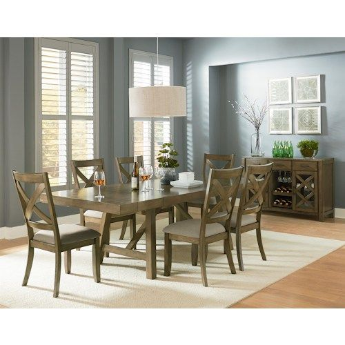 Omaha Grey Trestle Dining Room Table with Two Leaves by Standard