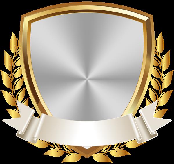 Gold White Badge With Banner Png Clip Art Image Bingkai Bingkai Foto Seni
