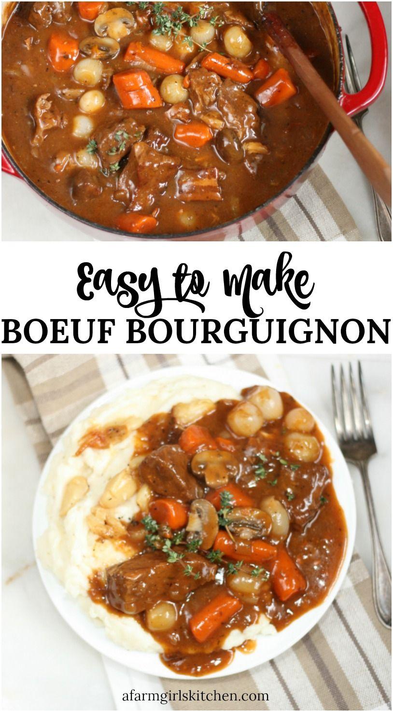Boeuf Bourguignon Easy To Make Beef Bourguignon Stew Dinner Beef Bourguignon Recipe
