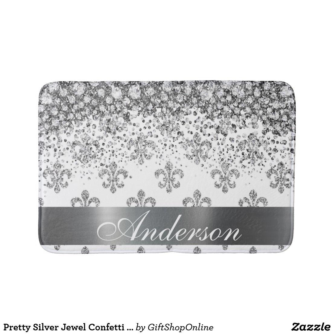 Pretty Silver Jewel Confetti Over Fleur De Lis Bath Mat Zazzle