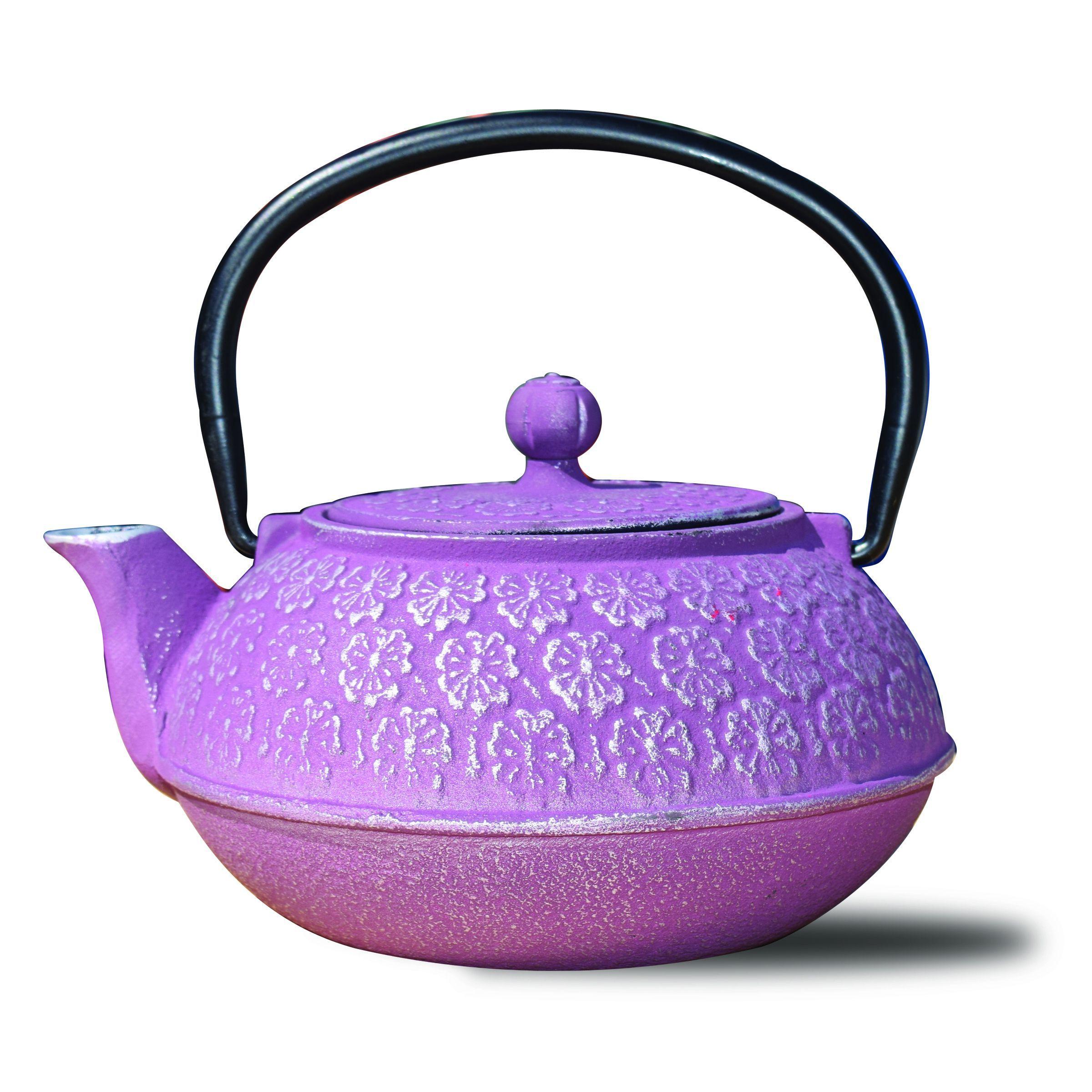 old dutch plum cast iron cherry blossom teapot 22 ounce purple