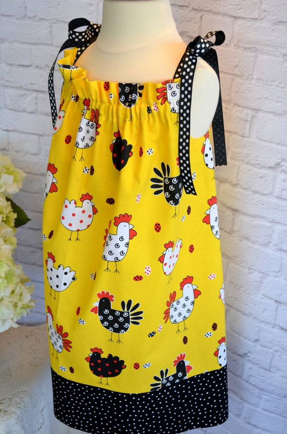 Fun Chicken/Rooster Pillowcase Dress Girls by LadyBugHugsBoutique, $19.00