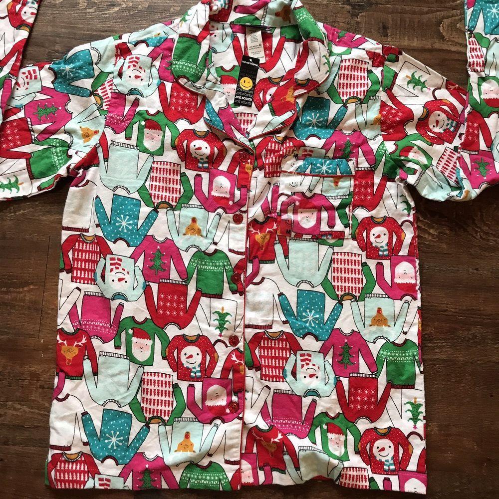 Christmas Pajama Sleepwear Top Santa Claus Snowman Joe Boxer Size ...