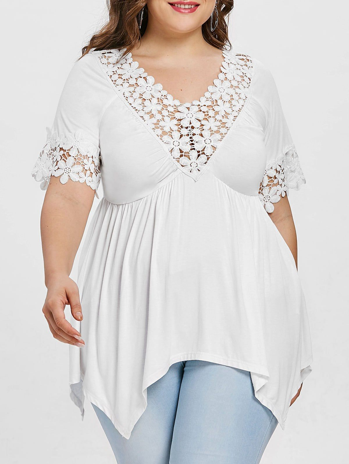Plus Size Cutwork V Neck Handkerchief T Shirt Plus Size Dresses Australia Fashion Plus Size [ 1596 x 1200 Pixel ]