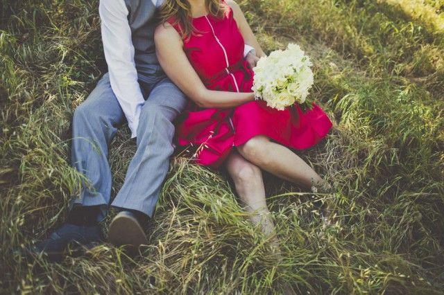 bride wears red