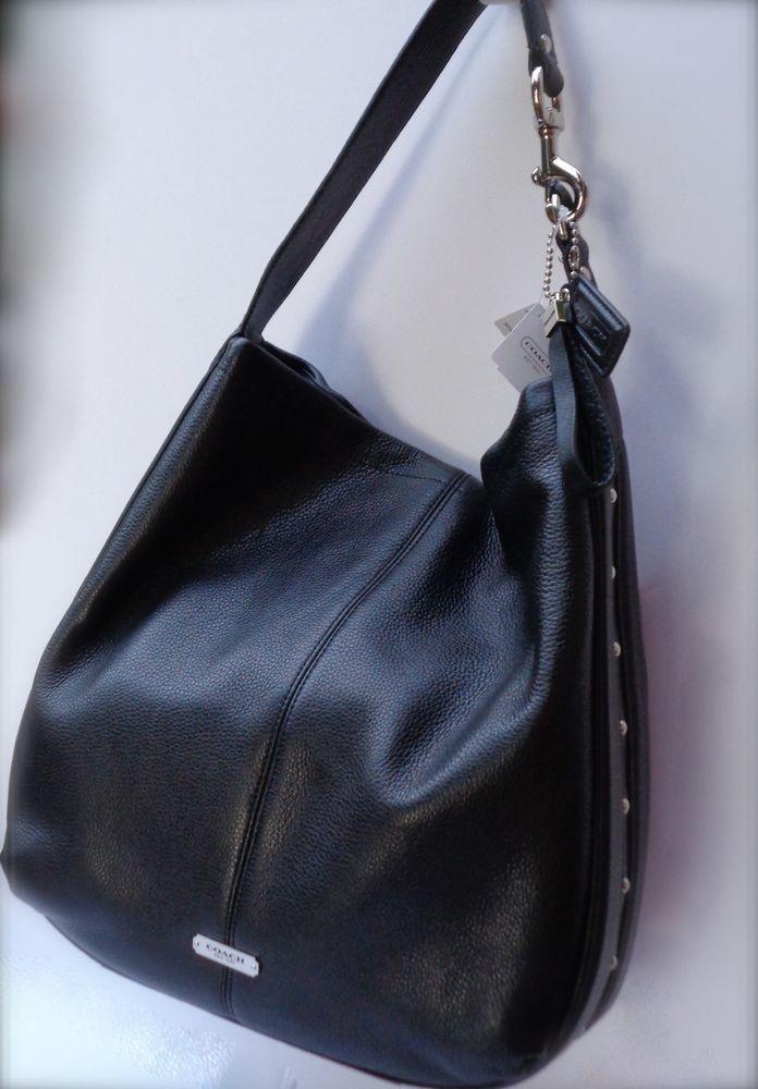 9d9c43995a COACH Park Avery Studded Leather Hobo Handbag Black Silver  458 F31287   Coach  TotesShoppers