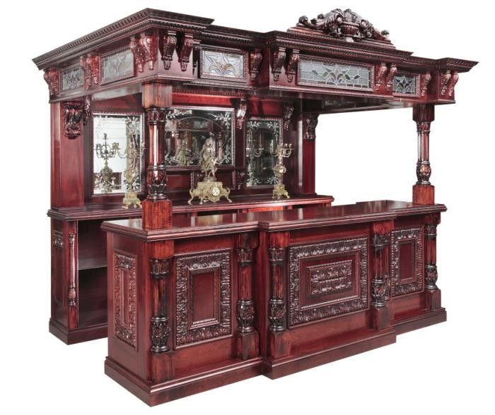 Wood Home Bar Furniture: Ornately Carved Antique Wood & Leaded Glass Canopied Bar