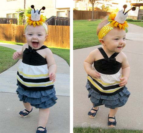 QUEEN_BEE. OMG that is the best, cutest queen bee hat or fascinator on a headband! Would be fun and easy to make. Very clever.