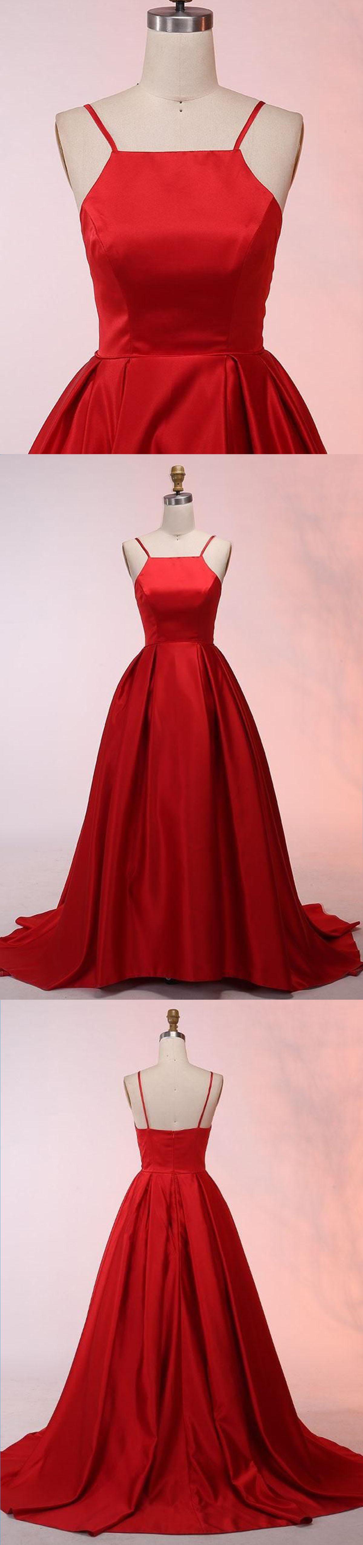 Simple red satin spaghetti straps sweep train long bridesmaid dress