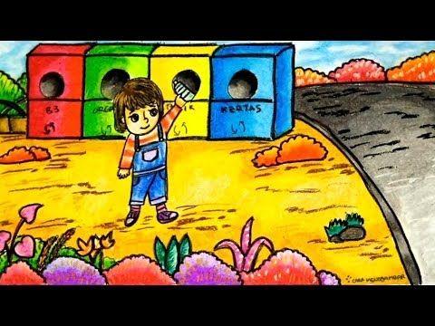 Cara Menggambar Tema Menjaga Kebersihan Lingkungan Dengan Gradasi Warna Crayon Oil Pastel Youtube Ilustrasi Cara Menggambar Gambar