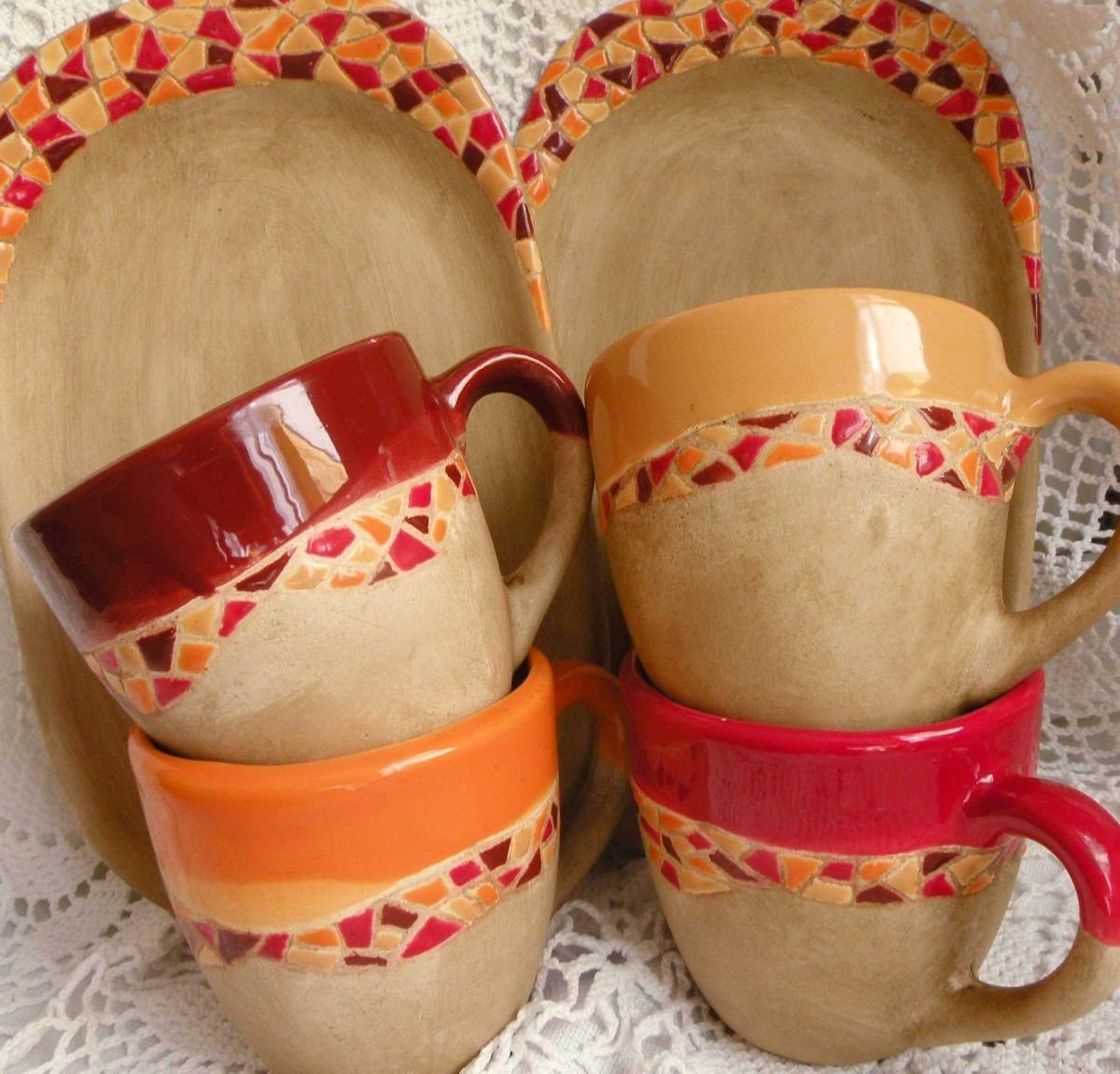 Vajilla de cer mica artesanal pintada a mano 250 00 en mercadolibre ceramics pinterest - Vajilla ceramica artesanal ...