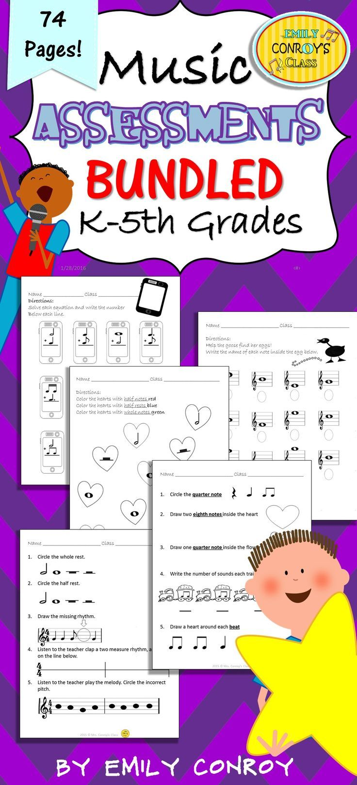 Elementary Music Assessments (74 Music Worksheets for Grades K-5 ...