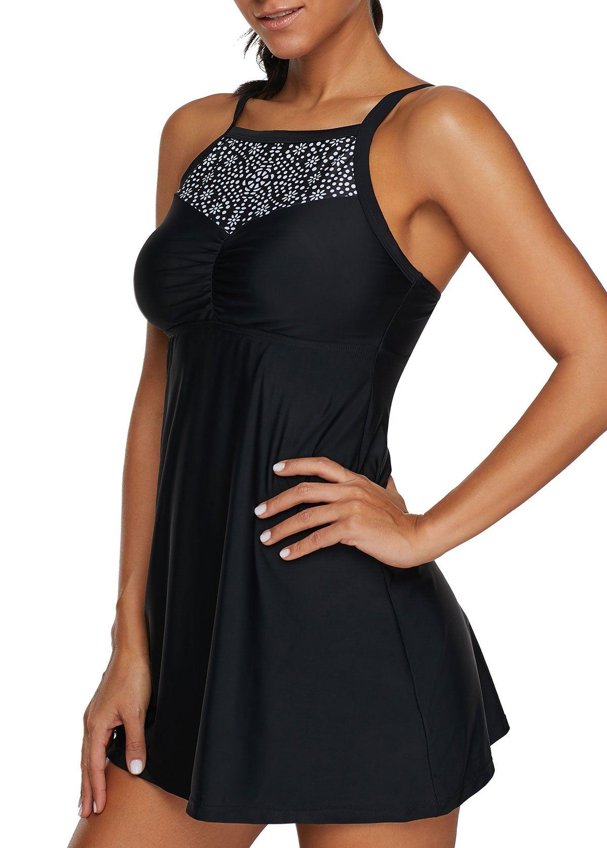 b281ba0d4b Printed Black Padded Open Back Swimdress and Shorts | liligal.com - USD  $26.35