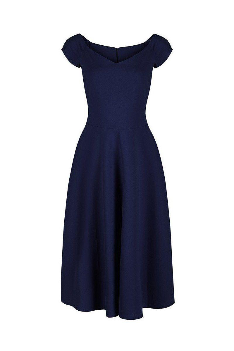 d2db0d4bc9c57 Navy Blue Cap Sleeve V Neck 50s Bridesmaids Swing Dress in 2019 ...