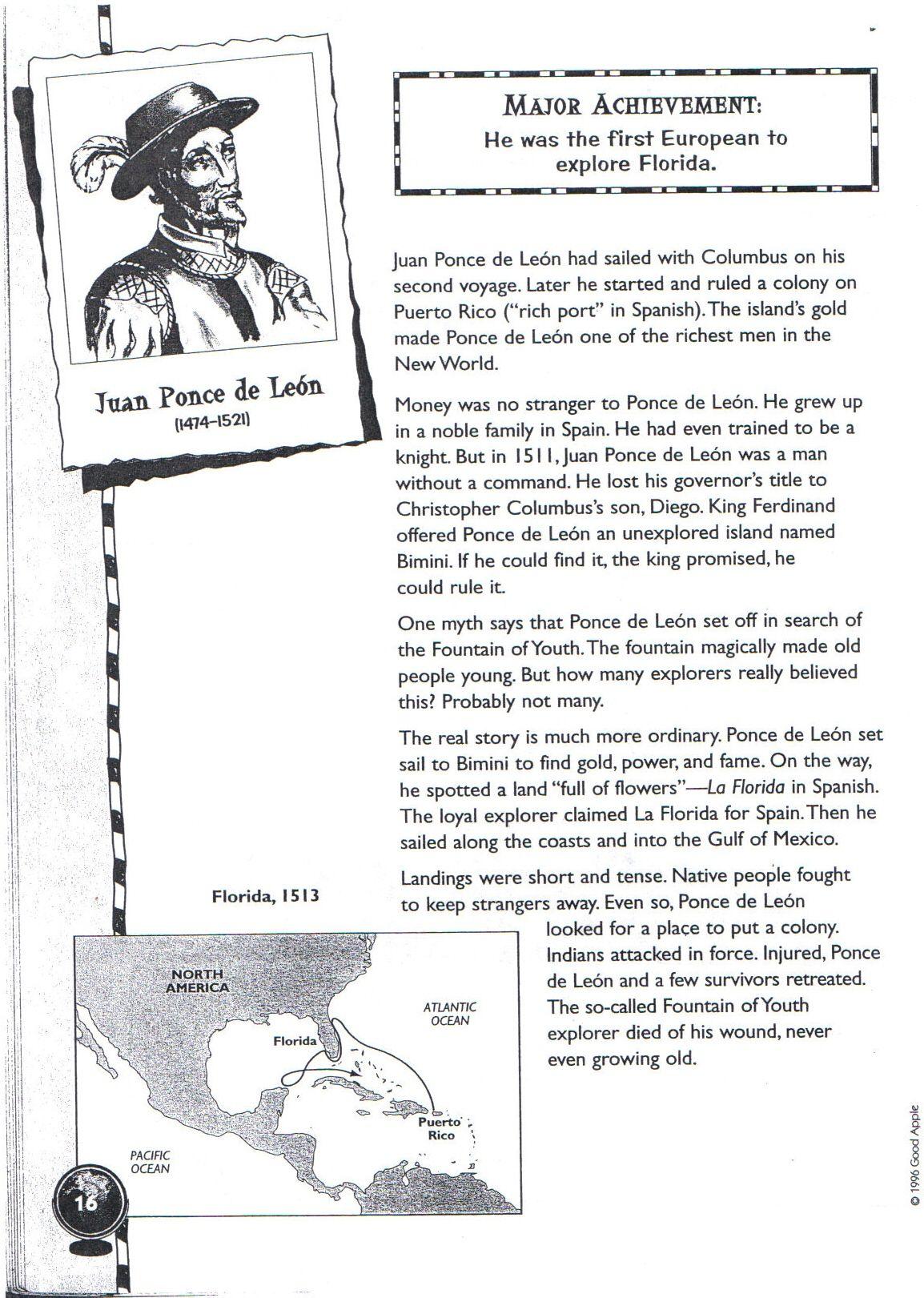 Christopher Columbus Worksheet For 6th Grade