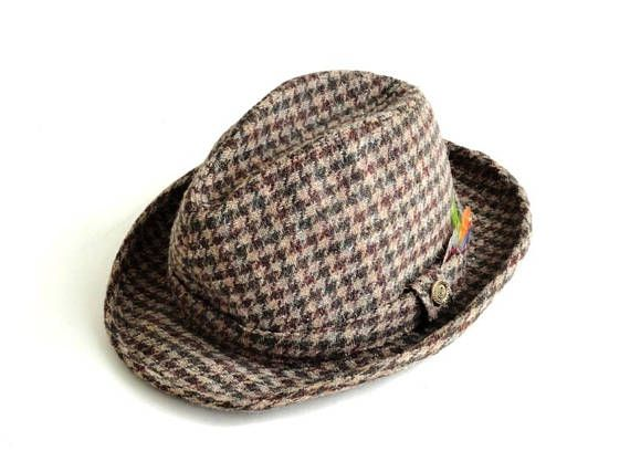 42831312b63889 Vintage Pendleton Wool Fedora Hipster Houndstooth Feather Hat | Hats ...