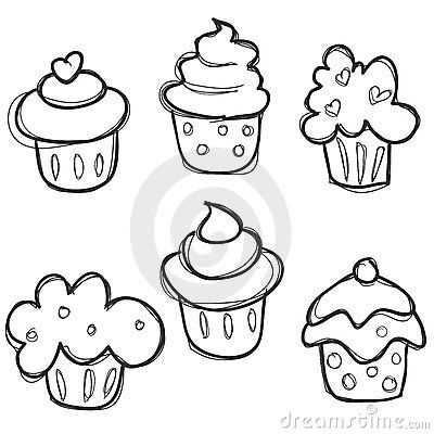 illustration of hand drawn cupcake set vector art clipart and stock vectors