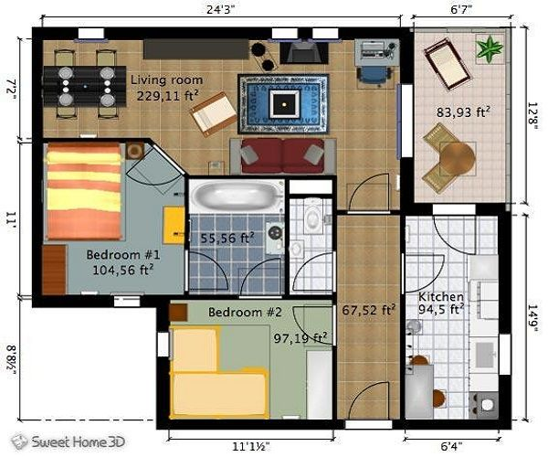 Home design sweet home design a floor plan online for for Scale room planner