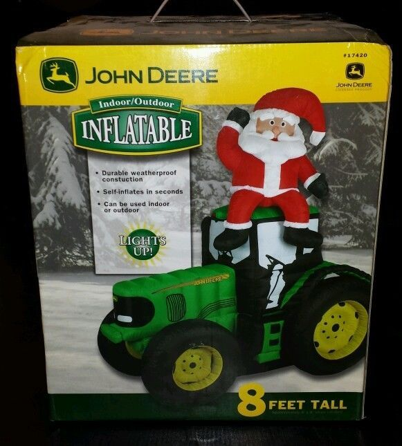 John Deere Inflatable Tractor With Santa 8 Foot Tall New
