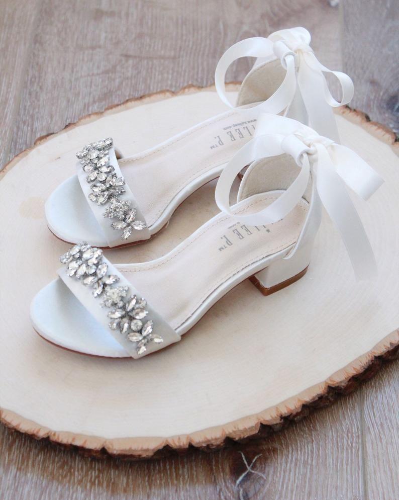 Ivory Satin Block Heel Sandals With Embellished Toe Strap In 2020 Bridal Sandals Wedding Shoes Heels Wedding Shoes