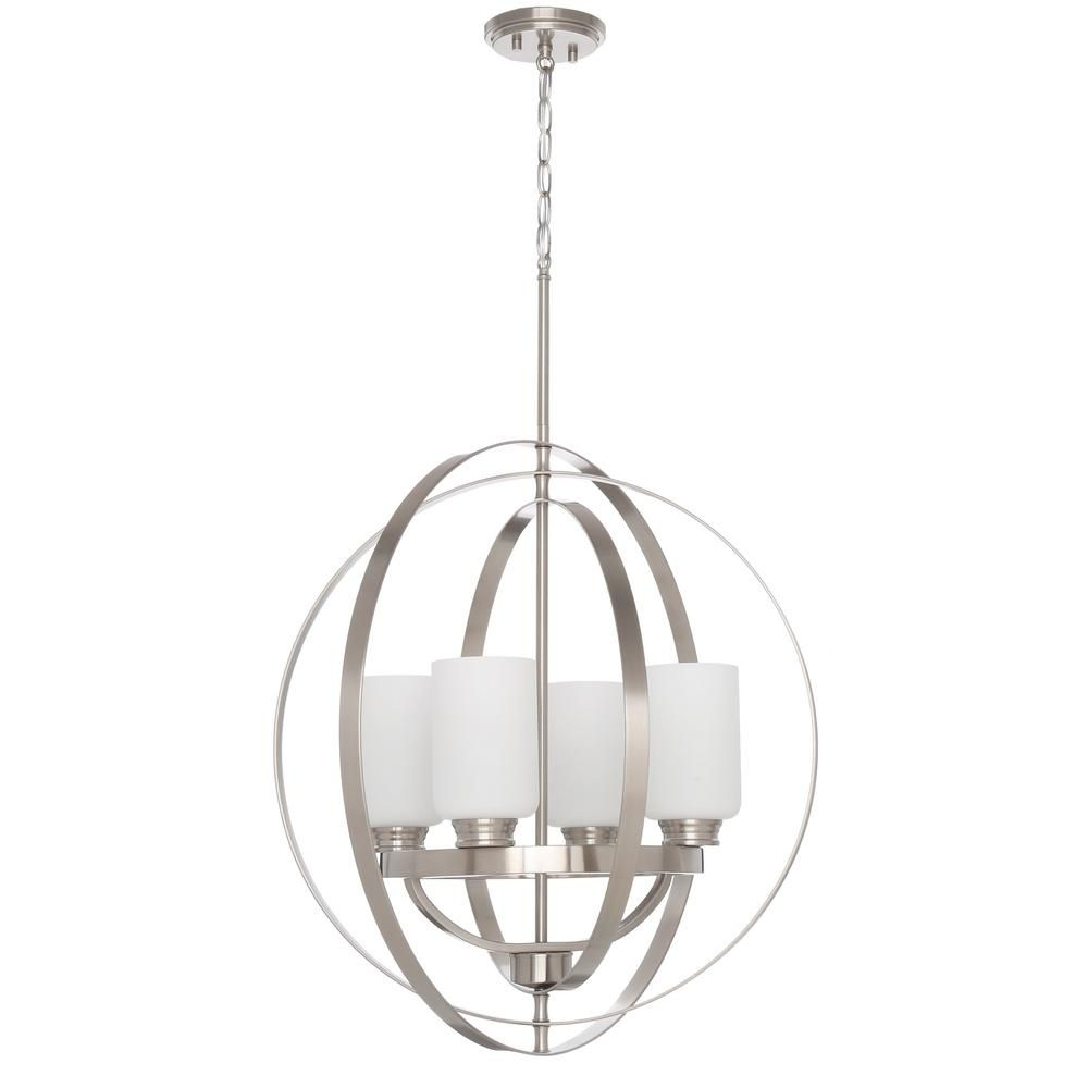 Home Decorators Collection 24 In 4 Light Brushed Nickel Chandelier With Etched White Glass Shades 7900hdc The Home Depot Brushed Nickel Chandelier Chandelier Decor Home Decorators Collection
